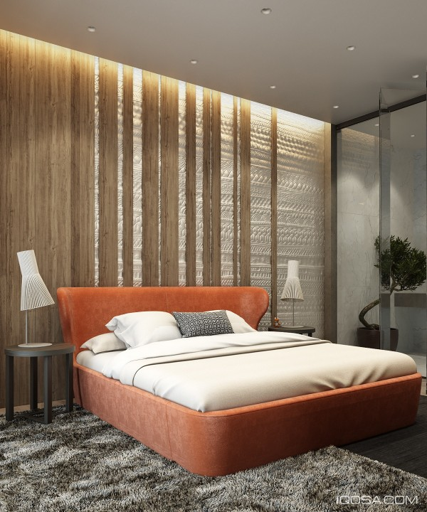 This is a timeless design that you might expect to see in an awesome movie like Pulp Fiction. The ambiance of discontinued vertical wood slats, the highlights of hidden lighting, and the pop of the orange bed centerpiece is what makes this bedroom come to life.