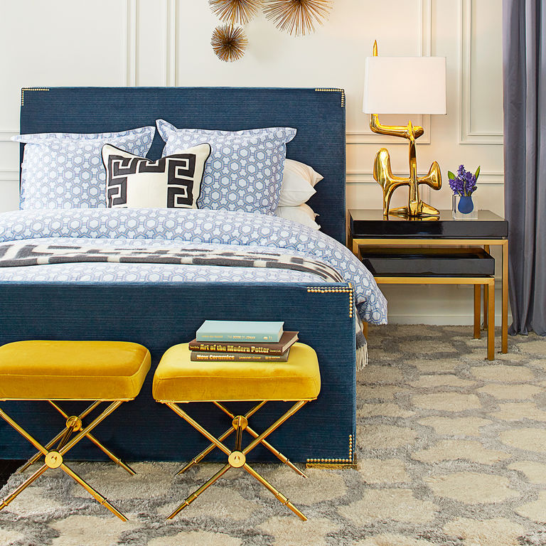 This bedroom set was a fantastic design from Jonathan Adler. The comforting blue combined with a luscious gold accent makes this a true masterpiece.