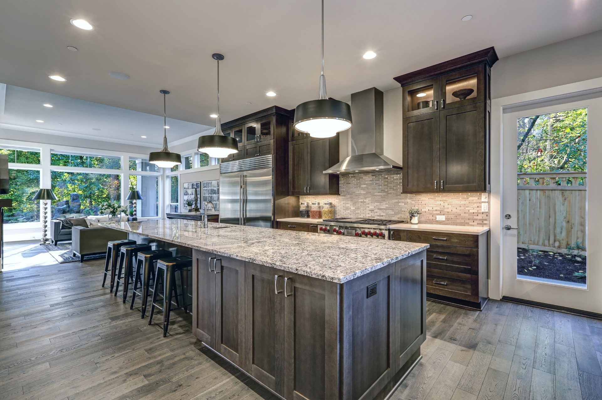 A kitchen with adequate lighting is crucial to any dark colors. When you carefully space recessed lights to optimize the luminescence of your kitchen, it starts to become hypnagogic as nature fills the atmosphere of this peaceful area.