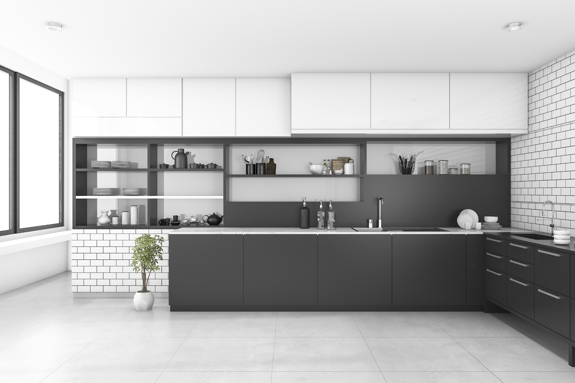 For someone who wants that bold entryway to the cooking environment, this is the aggressive style you need. All the dishes readily on display, no more shuffling through cabinets to find what you need. This minimalist design carries the bear functionalities of the common kitchen.