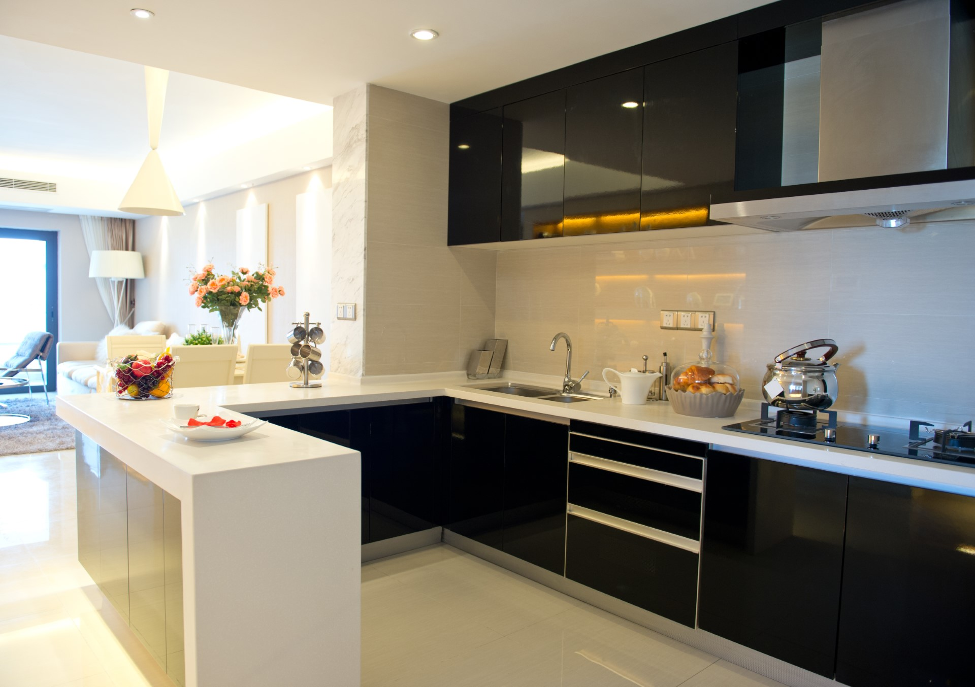 Black cabinets are pretty unique, it's something that might catch you off guard, but the functionality is great. No more finger marks!
