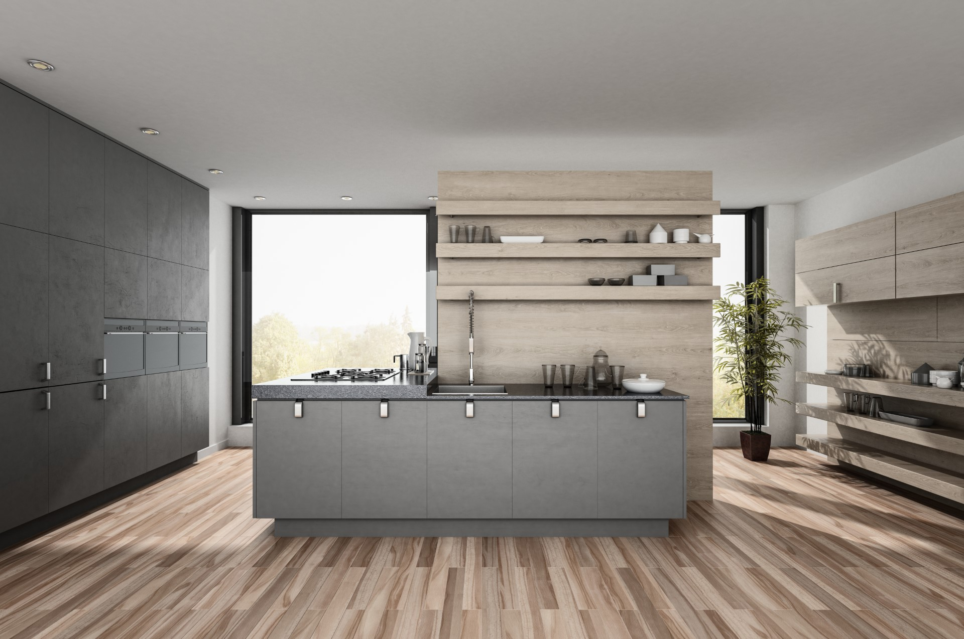 This bizarre kitchen is sure to catch your attention from its minimalist modern roots and decor. It has all the functionalities you need including hidden storage, space saving stovetop, and storage for your dishes.