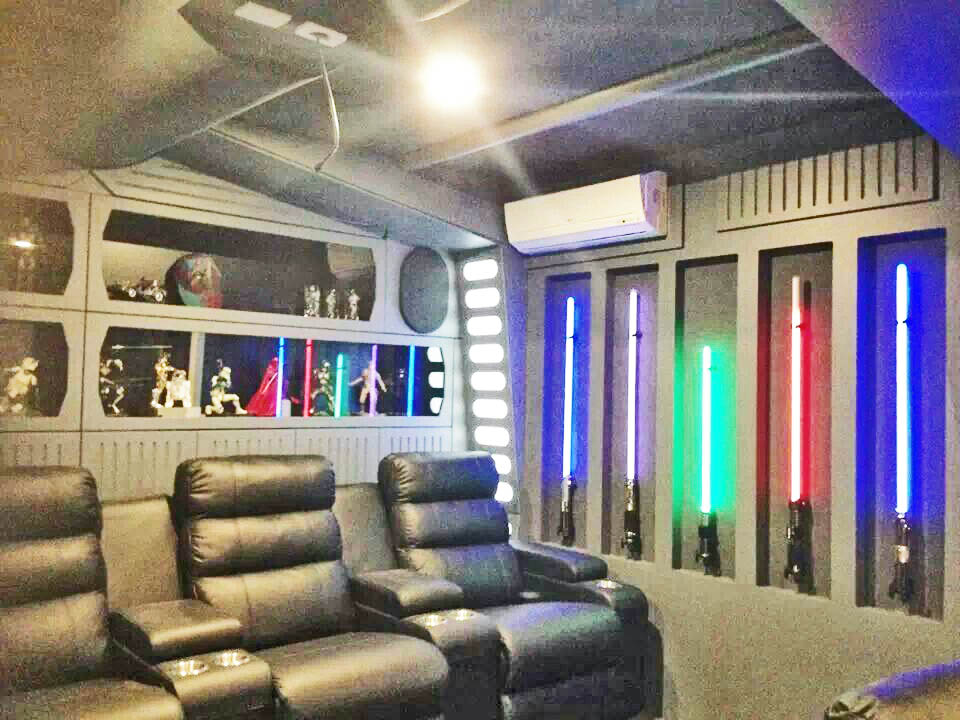 This type Star Wars room requires a little bit of work to do properly.You're looking at paneling, framed recesses, and properly run electrical.When done properly, you can bring a Star Wars room of this magnitude the life.