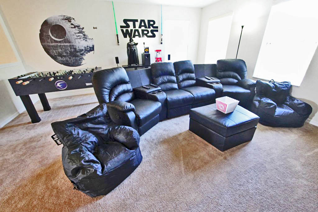 A couple light sabers and a 4 foot mural of the Death Star to make your game room pop!