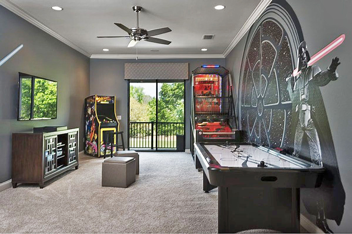 A Star Wars game room is something that sets your home apart from all the others, throw in a couple arcade games and you have a fun house.