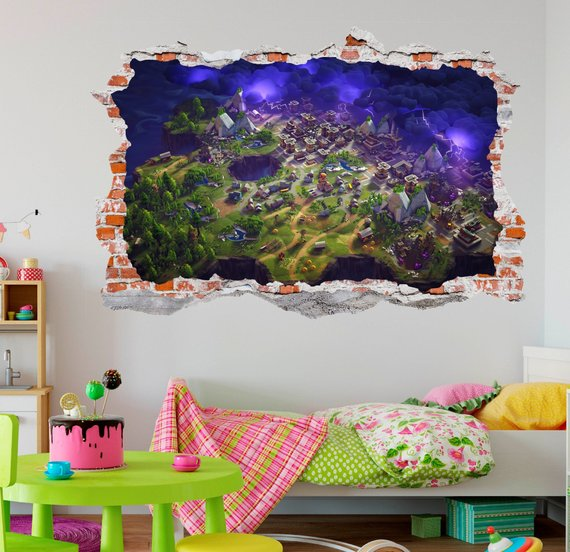 Fortnite 3D Smashed Wall Sticker Decal