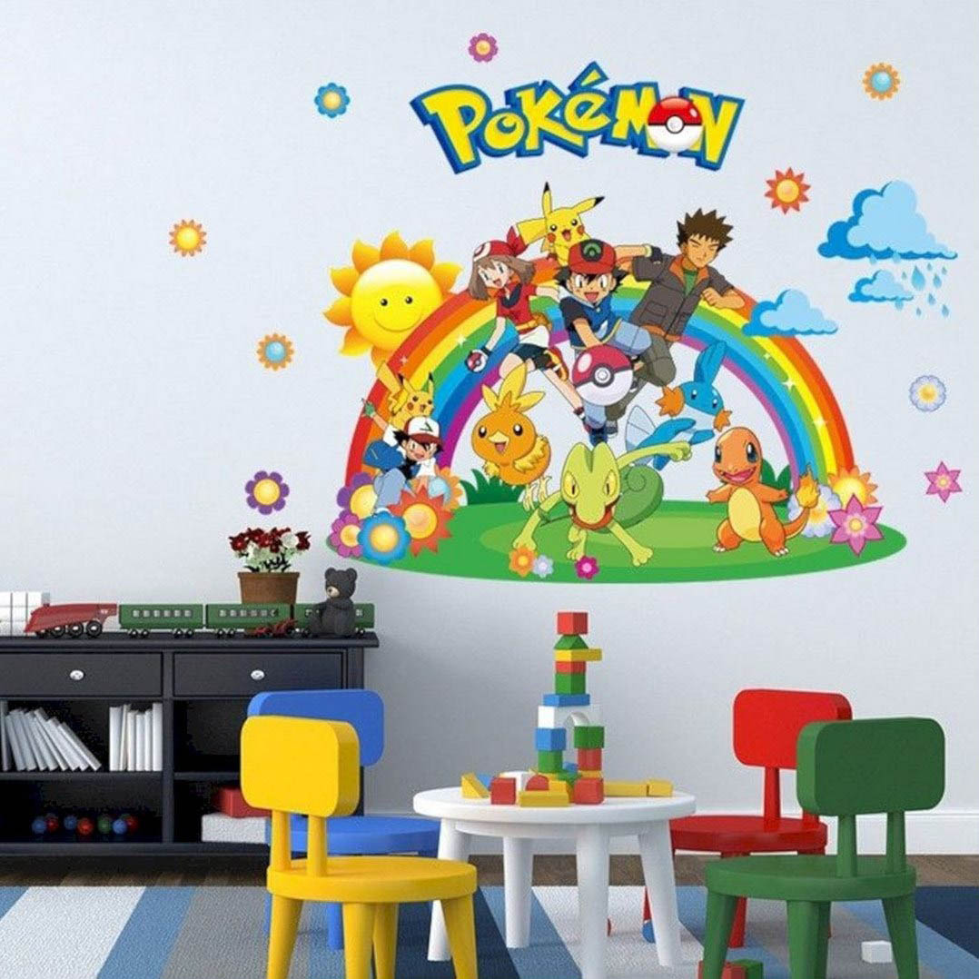 A Pokémon vinyl sticker is a great way to decorate your kids playroom.