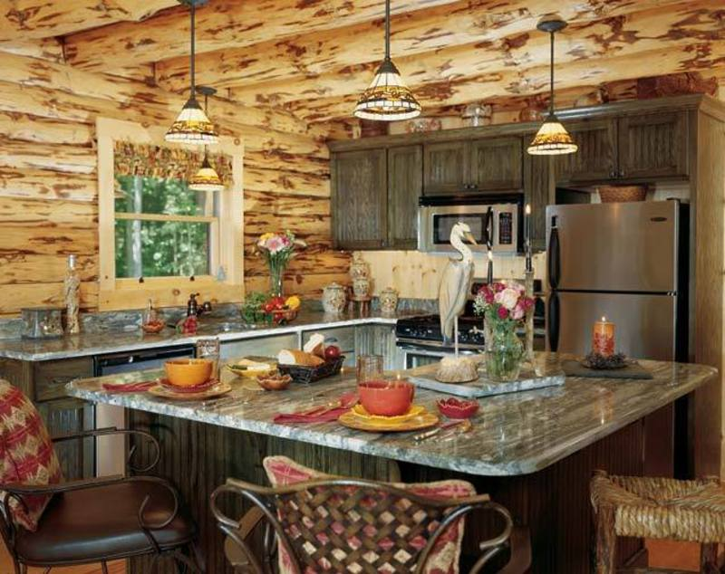 Wood ceilings with this rustic elegant farmhouse design can provide a very warm feeling to your kitchen. It's usually preferred to have an island countertop with seating to help entertain guests.